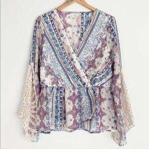 Venus Paisley Wrap Style Crochet Sleeve Boho Top M